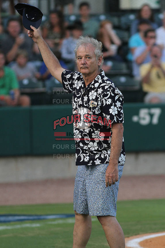 Actor and part Charleston Riverdogs owner Bill Murray being recognized by the crowd for being elected to the South Atlantic League Hall of Fame at the South Atlantic League All-Star game held at the Joseph P. Riley Jr.Ballpark in Charleston, South Carolina on June 19th, 2012. The Northern division defeated the Southern division by the score of 3-2. (Robert Gurganus/Four Seam Images)