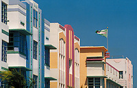 Each Deco building is different in color, style, making an interesting palette. Ocean Drive, Miami Beach FL USA.