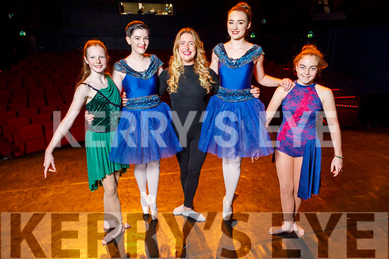 Kerry School of Music's Dance Academy's Heather Brophy, Jayden Kelliher, Dance Instructor Tara Dore, Mieka and Skylar Steinbeck rehearsing their on point for the afternoon show in Siamsa Tire on Sunday.