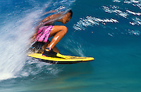 Body boarding in the beautiful blue waters of Oahu