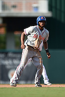 St. Lucie Mets shortstop Amed Rosario (11) leads off second during a game against the Fort Myers Miracle on April 19, 2015 at Hammond Stadium in Fort Myers, Florida.  Fort Myers defeated St. Lucie 3-2 in eleven innings.  (Mike Janes/Four Seam Images)