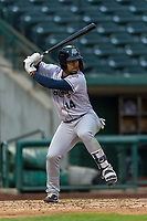 Kane County Cougars Eddie Hernandez (14) at bat during a Midwest League game against the Fort Wayne TinCaps at Parkview Field on April 30, 2019 in Fort Wayne, Indiana. Kane County defeated Fort Wayne 7-4. (Zachary Lucy/Four Seam Images)