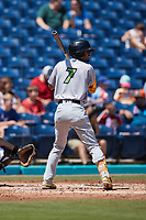 Yordys Valdes (7) of the Lynchburg Hillcats at bat against the Kannapolis Cannon Ballers at Atrium Health Ballpark on August 29, 2021 in Kannapolis, North Carolina. (Brian Westerholt/Four Seam Images)