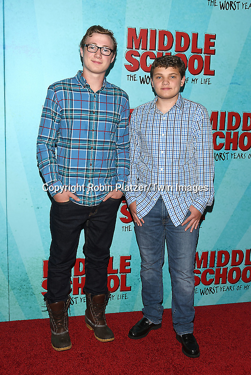 """Tony & Andrew Terraciano of Blue Bloods attend the """"Middle School: The Worst Years of My Life"""" New York Screening on October 1, 2016 at the Regal E-Walk in New York, New York, USA.<br /> <br /> photo by Robin Platzer/Twin Images<br />  <br /> phone number 212-935-0770"""