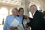 59a Mostra Internazionale d'Arte Cinematografica di Venezia, 59th Venice International Film Festival, Dino Risi con Vittorio Sgarbi e Giuliano Montaldo.Venice film festival