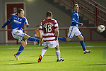 Hamilton Accies v St Johnstone...24.09.13      League Cup<br /> Stevie May scores his second to make it 3-0<br /> Picture by Graeme Hart.<br /> Copyright Perthshire Picture Agency<br /> Tel: 01738 623350  Mobile: 07990 594431