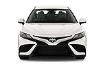 Car photography straight front view of a 2021 Toyota Camry SE 4 Door Sedan Front View