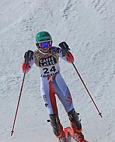 20th February 2021; Cortina d'Ampezzo, Italy; FIS Alpine World Ski Championships, Women's Slalom ; Asa Ando (JPN) finishes her run