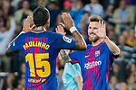 Lionel Andres Messi of FC Barcelona (R) celebrates after scoring his goal with Jose Paulo Bezerra Maciel Junior, Paulinho, of FC Barcelona(L) during the La Liga 2017-18 match between FC Barcelona and SD Eibar at Camp Nou on 19 September 2017 in Barcelona, Spain. Photo by Vicens Gimenez / Power Sport Images