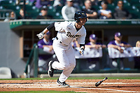 Michael Turconi (6) of the Wake Forest Demon Deacons starts down the first base line against the Furman Paladins at BB&T BallPark on March 2, 2019 in Charlotte, North Carolina. The Demon Deacons defeated the Paladins 13-7. (Brian Westerholt/Four Seam Images)