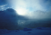 A winter morning look at sunrise across Turnagain Arm near Anchorage Alaska