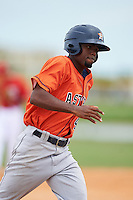 GCL Astros designated hitter Edgar Lorenzo (41) running the bases during a game against the GCL Nationals on August 14, 2016 at the Carl Barger Baseball Complex in Viera, Florida.  GCL Nationals defeated GCL Astros 8-6.  (Mike Janes/Four Seam Images)