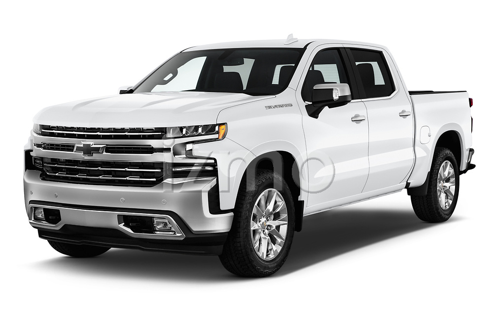 2019 Chevrolet Silverado 1500 LTZ 4 Door Pick Up angular front stock photos of front three quarter view