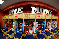 Harrison, NJ - Tuesday April 10, 2018: New York Red Bulls locker room prior to leg two of a  CONCACAF Champions League semi-final match between the New York Red Bulls and C. D. Guadalajara at Red Bull Arena. C. D. Guadalajara defeated the New York Red Bulls 0-0 (1-0 on aggregate).