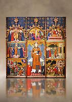 Gothic painted Panel Altarpiece of Saint Stephen by  Jaume Serra. Tempera, gold leaf and metal plate on wood. Circa 1385. Dimesions 185.7 x 186.5 x 11 cm. From the monastery of Santa Maria de Gualter (Noguera).. National Museum of Catalan Art, Barcelona, Spain, inv no: 003947-CJT