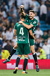 Francisco Javier Garcia Fernandez, Javi Garcia (r), of Real Betis celebrates with teammate Zouhair Feddal Agharbi of Real Betis during the La Liga 2017-18 match between Real Madrid and Real Betis at Estadio Santiago Bernabeu on 20 September 2017 in Madrid, Spain. Photo by Diego Gonzalez / Power Sport Images