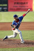 Auburn Doubledays pitcher Blake Monar #13 during a game against the Batavia Muckdogs at Dwyer Stadium on June 20, 2012 in Batavia, New York.  Batavia defeated Auburn 9-3.  (Mike Janes/Four Seam Images)
