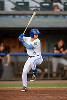 Bluefield Blue Jays center fielder Dominic Abbadessa (2) at bat during a game against the Bristol Pirates on July 26, 2018 at Bowen Field in Bluefield, Virginia.  Bristol defeated Bluefield 7-6.  (Mike Janes/Four Seam Images)