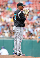 Syracuse Chiefs Pitcher Atahualpa Severino (18) during a game vs. the Buffalo Bisons at Coca-Cola Field in Buffalo, New York;  June 3, 2010.  Syracuse defeated Buffalo 7-1.  Photo By Mike Janes/Four Seam Images