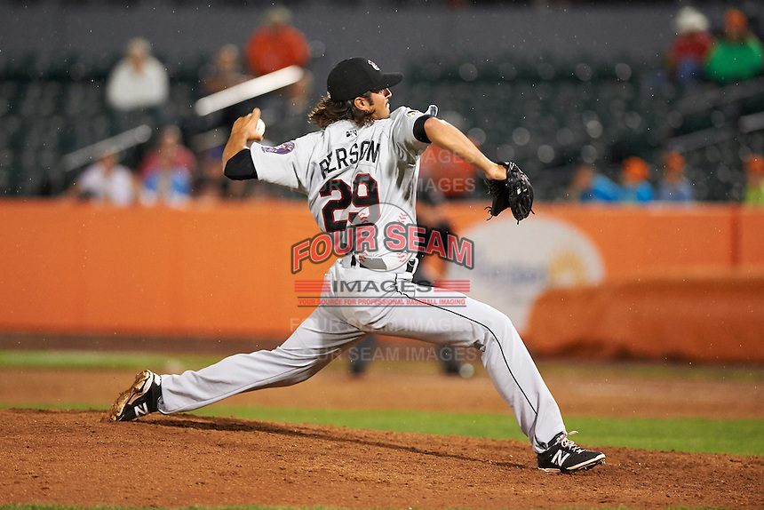 Tri-City ValleyCats pitcher Zac Person (29) delivers a pitch during a game against the Aberdeen Ironbirds on August 6, 2015 at Ripken Stadium in Aberdeen, Maryland.  Tri-City defeated Aberdeen 5-0 as Kevin McCanna, Garza and Zach Person combined to throw a no-hitter. (Mike Janes/Four Seam Images)