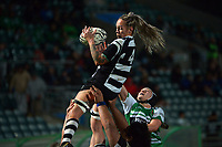 Nina Pineaha takes lineout ball during the 2021 Farah Palmer Cup women's rugby match between Manawatu Cyclones and Hawkes Bay Tuis at CET Stadium in Palmerston North, New Zealand on Friday, 6 August 2021 Photo: Dave Lintott / lintottphoto.co.nz