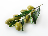 Fresh green queen olives on an olive sprig photos, pictures & images.