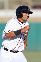 Adam Bailey #40 of the Lancaster JetHawks runs the bases against the Lake Elsinore Storm at Clear Channel Stadium on May 11, 2012 in Lancaster,California. (Larry Goren/Four Seam Images)