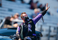 Aug 8, 2020; Clermont, Indiana, USA; NHRA funny car driver Jack Beckman during qualifying for the Indy Nationals at Lucas Oil Raceway. Mandatory Credit: Mark J. Rebilas-USA TODAY Sports