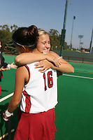 6 November 2007: Stanford Cardinal Katherine Swank (16) and Jennifer Luther (facing) during Stanford's 1-0 win against the Lock Haven Lady Eagles in an NCAA play-in game to advance to the NCAA tournament at the Varsity Field Hockey Turf in Stanford, CA.