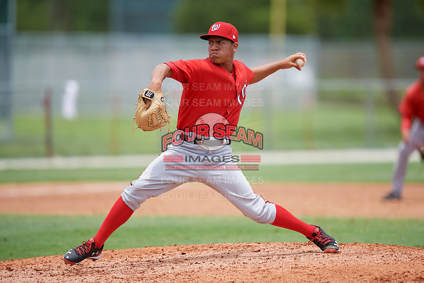 GCL Nationals relief pitcher Gilberto Chu (61) delivers a pitch during the second game of a doubleheader against the GCL Marlins on July 23, 2017 at Roger Dean Stadium Complex in Jupiter, Florida.  GCL Nationals defeated the GCL Marlins 1-0 as Johnson combined with starting pitcher Jared Johnson (not pictured) to throw a seven inning no-hitter.  (Mike Janes/Four Seam Images)