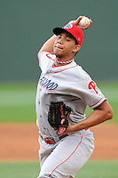 Pitcher Miguel Nunez (37) of the Lakewood BlueClaws in a game against the Greenville Drive on Wednesday, April 24, 2013, at Fluor Field at the West End in Greenville, South Carolina. Lakewood won, 7-5. (Tom Priddy/Four Seam Images)