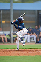 GCL Rays Johan Lopez (44) at bat during a Gulf Coast League game against the GCL Pirates on August 7, 2019 at Charlotte Sports Park in Port Charlotte, Florida.  GCL Rays defeated the GCL Pirates 5-3 in the second game of a doubleheader.  (Mike Janes/Four Seam Images)