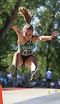 STURGIS, SD: MAY 25:  Emry Heiss of Pierre in the long jump during the 2018 South Dakota State High School Track Meet at Woodle Field in Sturgis, S.D.  (Photo by Dick Carlson/Inertia)