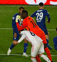 April 27th 2021; Alfredo Di Stefano Stadium, Madrid, Spain; UEFA Champions League. Nacho Fernandez Iglesias Edouardbeaten to the ball by Mendy of Chelsea  during the Champions League match, semifinals between Real Madrid and Chelsea FC played at Alfredo Di Stefano Stadium