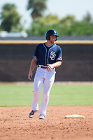 San Diego Padres designated hitter Owen Miller (10) leads off second base during an Instructional League game against the Milwaukee Brewers at Peoria Sports Complex on September 21, 2018 in Peoria, Arizona. (Zachary Lucy/Four Seam Images)