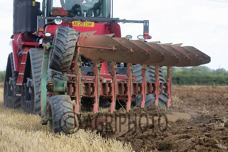13-8-2021 Ploughing barley stubble <br /> ©Tim Scrivener Photographer 07850 303986<br />      ....Covering Agriculture In The UK....