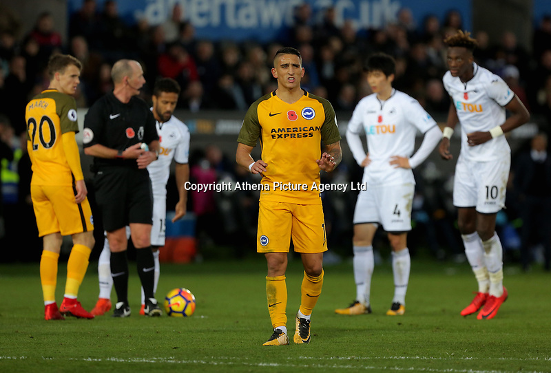 Anthony Knockaert of Brighton (C) in action during the Premier League match between Swansea City and Brighton and Hove Albion at The Liberty Stadium, Swansea, Wales, UK. Saturday 04 November 2017
