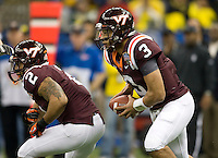 Virginia Tech quarterback Logan Thomas in action during Sugar Bowl game against Michigan at Mercedes-Benz SuperDome in New Orleans, Louisiana on January 3rd, 2012.  Michigan defeated Virginia Tech, 23-20 in first overtime.