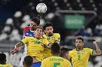 2nd July 2021; Nilton Santos Stadium, Rio de Janeiro, Brazil; Copa America, Brazil versus Chile; Roberto Firmino, Marquinhos of Brazil and Francisco Sierralta of Chile compete for a cross