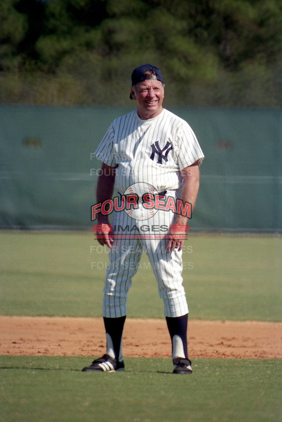 Mickey Mantle stands in the field during the Mickey Mantle-Whitey Ford Fantasy Camp circa November 1989 at Fort Lauderdale Stadium in Ft. Lauderdale, Florida.  (MJA/Four Seam Images)