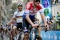 World Champion Julian Alaphilippe (FRA/Deceuninck - QuickStep) wins the uphill battle to the finish against his ever rivals: Mathieu Van der Poel (NED/Alpecin-Fenix) & Wout van Aert (BEL/Jumbo-Visma)<br /> <br /> Stage 2 from Camaiore to Chiusdino (202km)<br /> <br /> 56th Tirreno-Adriatico 2021 (2.UWT) <br /> <br /> ©kramon