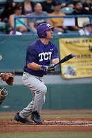 Josh Watson (7) of the TCU Horned Toads bats against the Long Beach State Dirtbags  at Blair Field on March 14, 2017 in Long Beach, California. Long Beach defeated TCU, 7-0. (Larry Goren/Four Seam Images)
