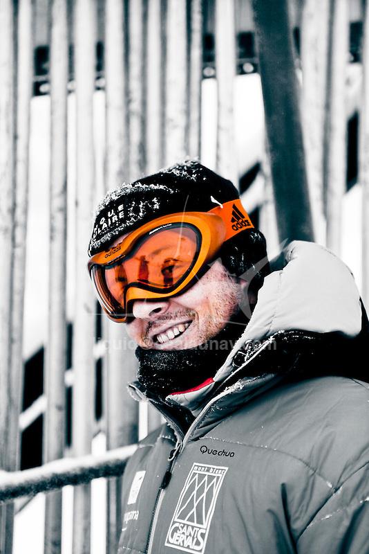 Challenge Mer et Montagne 2012, Saint Gervais les Bains, Mont Blanc, Haute Savoie, France..Ski Super Geant..Eric Peron