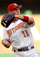 16 June 2006: Ryan Zimmerman, third baseman for the Washington Nationals, takes some warmup tosses prior to a game against the New York Yankees at RFK Stadium, in Washington, DC. The Yankees defeated the Nationals 7-5 in the first meeting of the two franchises...Mandatory Photo Credit: Ed Wolfstein Photo...