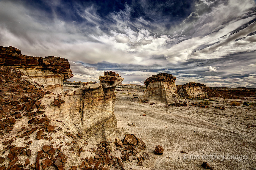An eroded mudstone dike capped by shale in a remote section of the Bisti Wilderness in New Mexico's San Juan Basin.