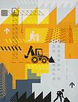 Illustrative representation showing construction industry