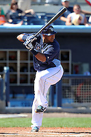 Tampa Bay Rays catcher Jose Molina #28 during a spring training game against the Baltimore Orioles at the Charlotte County Sports Park on March 5, 2012 in Port Charlotte, Florida.  (Mike Janes/Four Seam Images)