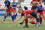 GER - Mannheim, Germany, October 09: During the women hockey match between Mannheimer HC (blue) and Ruesselsheimer RK (red) on October 9, 2016 at Mannheimer HC in Mannheim, Germany. Final score 6-0 (HT 1-0). (Photo by Dirk Markgraf / www.265-images.com) *** Local caption *** Lotta Hof #17 of Ruesselsheimer RK, Solvej Althof #40 of Mannheimer HC