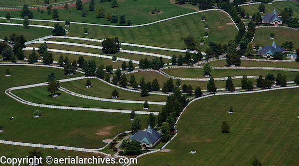 aerial photograph of the Calument horse farm, Lexington, Kentucky