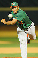 Daniel Miranda #37 of the Miami Hurricanes delivers a pitch to the plate against the Wake Forest Demon Deacons at Gene Hooks Field on March 18, 2011 in Winston-Salem, North Carolina.  Photo by Brian Westerholt / Four Seam Images